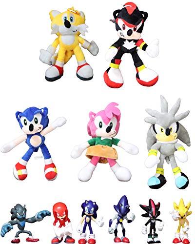 Figura peluche Sonic 11 unids/lote figuras sónicas juguete de felpa Sonic/Shadow/Silver the Hedgehog muñeca Sonic Shadow Tails Amy Rose para niños animales juguetes regalo