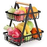 2 Tier Fruit Basket, URESMAT Detachable Fruit Basket Bowl for Kitchen, Kitchen Storage Counter Dining Room Organizer for Fruits Snacks Vegetables, Black