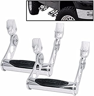 BULLY Mirror Polished T-304 3in Stainless Steel Pair of Truck Bed Side Steps Nerf Bar w/ Multi-Level Adjustment for Height Settings