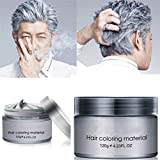 Temporary DIY Hair Color Wax - Disposable Natural Hair Color Cream Mud 4.23 oz Instant Hair Color Pomades Natural Hairstyle Wax for Men and Women, Silver Gray