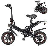 Autoshoppingcenter Vélo Électrique Pliant 14' e-Bike Vélo Adulte 400W avec Batterie Lithium-ION 15Ah / 48V Vitesse Réglable 25 km/h Frein à Disque Avant et arrière (EU Stock)