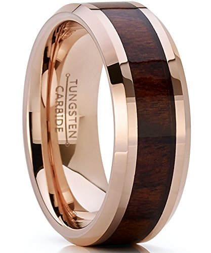 8MM Herren Und Damen Rosa Ton Wolframcarbid Ring Verlobungsringe Trauringe Hochzeitsband mit Echtholzeinlage Bequemlichkeit Passen Größe 60