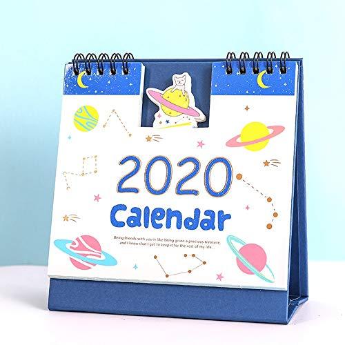 FJXQCY Calendario de Escritorio 2019-2020 año académico, Calendario de Escritorio 2020 de sobremesa tirón de Agenda, del Bloc de Notas, for la Oficina de Visita del Profesor, Familia o (Color : C)