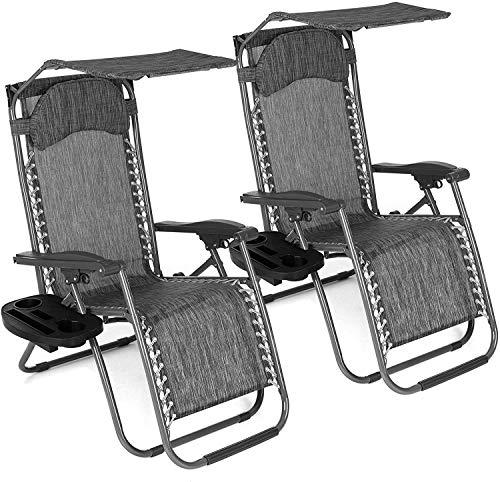GT-LYD Conjunto de 2 jardín al Aire Libre Sun Silla Tumbona Ajustable con la Cortina de Sun, reclinables y Plegables, Reposacabezas Acolchados, Tablas de Clip-On Secundarios y cómodo Tela (Gris)