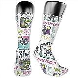 KL Decor Calcetines Estampados,Cámaras Y Fotos Funky Over The Calf Sock Athletic Team Stocking Unisex 40Cm