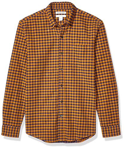 Amazon Essentials Men's Slim-Fit Gingham Long-Sleeve Pocket Oxford Shirt, Yellow/Navy, Large