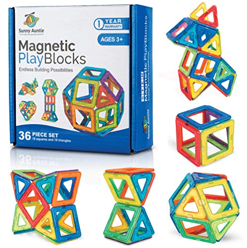 Sunny Auntie Magnetic Building Blocks Magnetic Tiles Set Toy for 3 4 5 6 7 8 Year Old Boys & Girls - Kids & Toddlers STEM Educational Toy building Toy Gift for 3-8 Year Olds, 36 pcs Set Gift Box