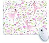 DAHALLAR Gaming Mouse Pad Rutschfeste Gummibasis,tanzende Ballerinas auf einem Blumen,für Computer Laptop Office Desk,240 x 200mm