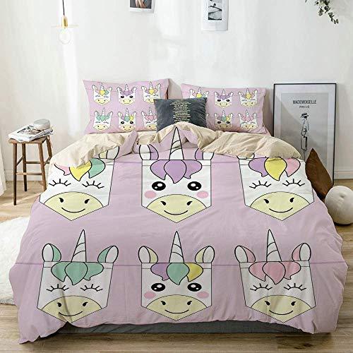 Juego de funda nórdica beige, fondo pastel con coloridos iconos de fiesta de animales de dibujos animados fantásticos infantiles, juego de cama decorativo de 3 piezas con 2 fundas de almohada fácil cu