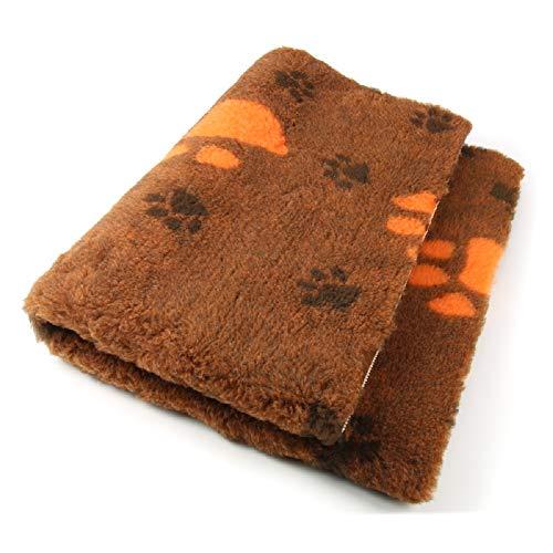 ProFleece Premium Hundedecke Haustiermatte 3-farbig orange mit Pfotenabdruck | Rutschfest | Antibakteriell | Antiallergen | Atmungsaktiv | Isolierend | Waschbar (S = 75 x 50 cm)