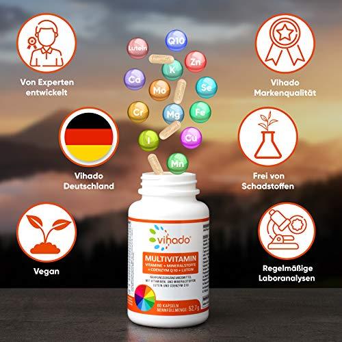 Vihado Multivitamin Tabletten hochdosiert – 26 Vitamine + Mineralstoffe + Q10 + Tagetes Erecta, 60 Kapseln, 1er Pack (1 x 52,7 g) - 5