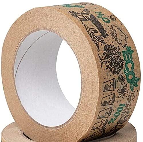 Ruban de papier kraft brun, rouleau de 48 mm x 50 mètres, surface inscriptible non enduite pour le masquage, le scellage et l'emballage