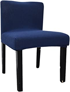 Deisy Dee Stretch Chair Cover Slipcovers for Low Short Back Chair Bar Stool Chair (navy blue)