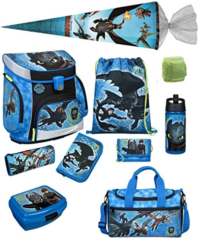Familando Scooli Schulranzen-Set 10 tlg. Dragons - Drachenreiter von Berg - mit Federmappe, Sporttasche, Schultüte 85cm und Regenschutz