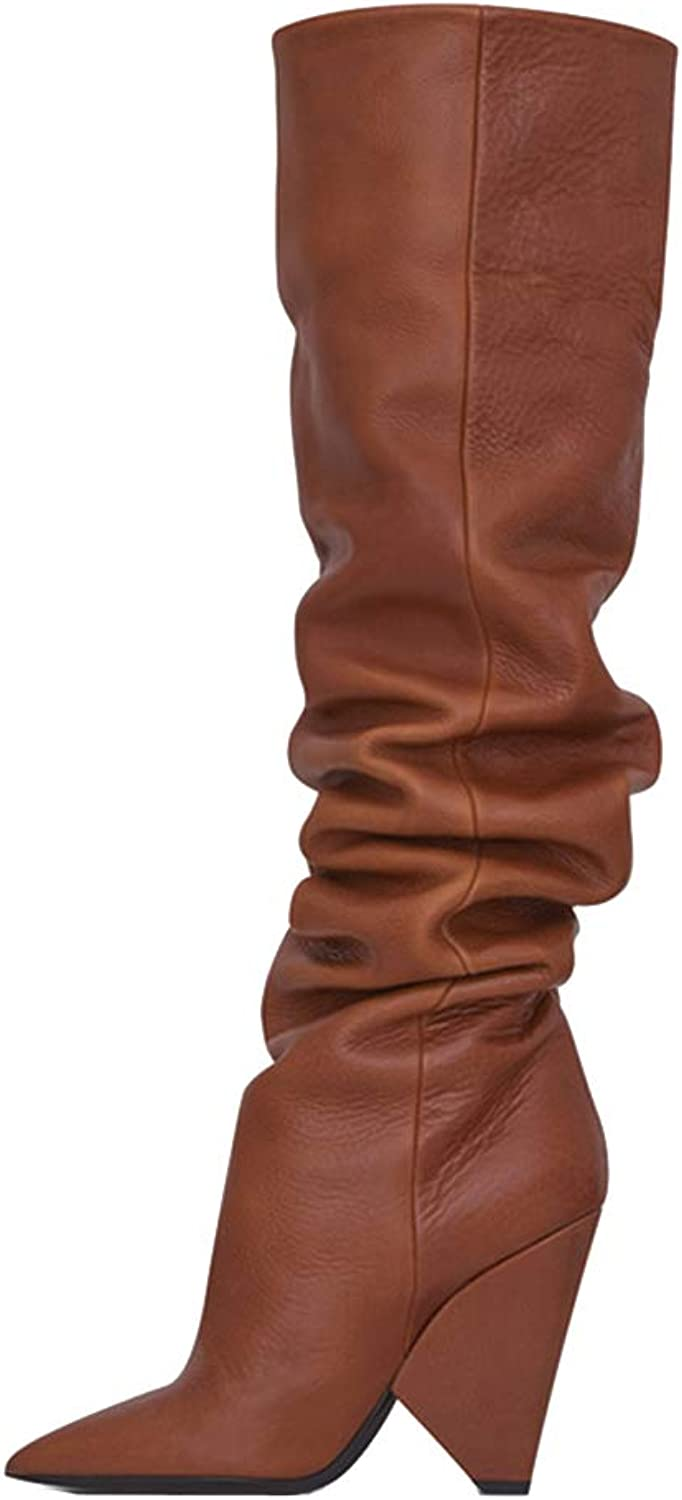 Themost Women's Fashion Casual Over The Knee Boots Wedge Pull On Slouchy Boot Winter Leather Booties