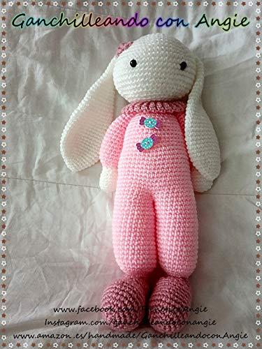 Conejita amigurumi, bebé dormilón a crochet. Hecho a mano en España. Regalo para bebé.