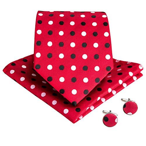 WJZHD Rot Schwarz Weiß Punkt Seide Krawatten Tasche Quadrat Manschettenknöpfe Set Halskrawatten Für Männer Hochzeitsfeier Corbata