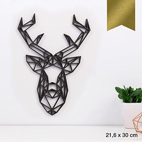 KLEINLAUT 3D-Origamis aus Holz - Wähle EIN Motiv & Farbe - Hirschkopf - 21,6 x 30 cm (L) - Gold