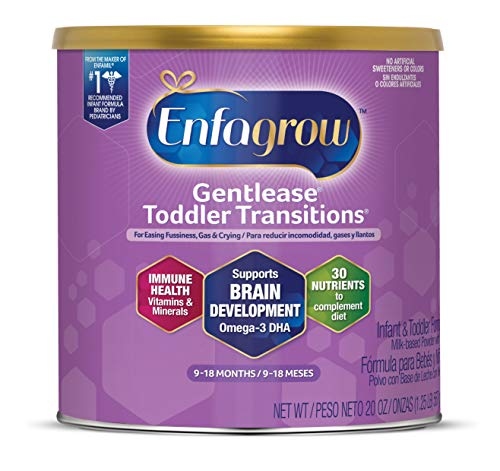 Enfagrow Gentlease Toddler Transitions Gentle Baby Formula Milk Powder, For Easing Gas & Crying, Omega-3 DHA, Iron, Vitamins & Minerals, 20 Oz Can