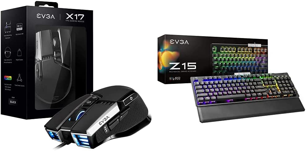 EVGA X17 Gaming Mouse, Wired, Black, Customizable with EVGA Z15 RGB Gaming Keyboard, RGB Backlit LED, Hotswappable Mechanical Kaihl Speed Bronze Switches (Clicky), 822-W1-15US-KR