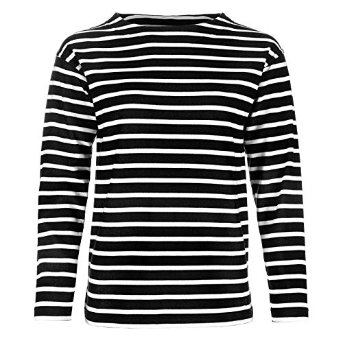 Bretonisches Damen Fischerhemd Langarm Streifen Hemd schwarz / weiß gestreift 2500D_99 von Modas Größe 42 (Damen) / 50 (Herren)