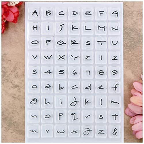 Kwan Crafts Capital Lower Case Letras del alfabeto inglés Números sellos transparentes para hacer tarjetas decoración y DIY Scrapbooking