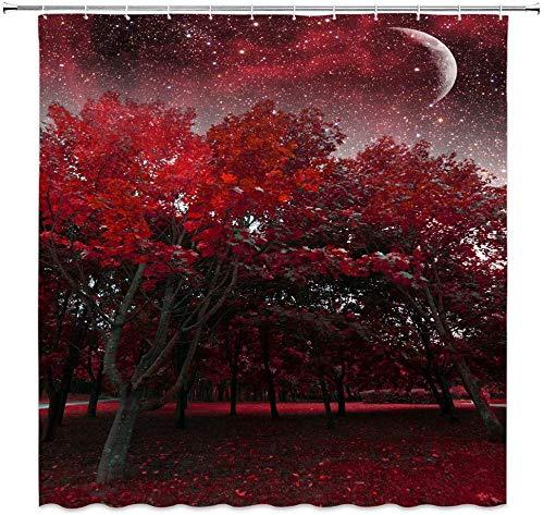 MMPTn Fantasy-Duschvorhang mit rotem Wald & Sternenhimmel, wasserfest, mit 12 Kunststoffhaken, 180 x 180 cm, Schwarz/Weinrot