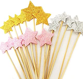 DoTebpa 48 Pieces Little Star Toppers,Food Baby Shower Decor and Cupcake Party Picks