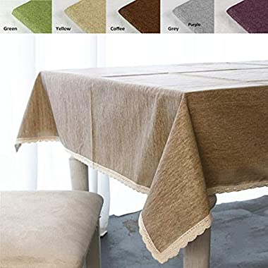 ColorBird Solid Cotton Linen Tablecloth Waterproof Macrame Lace Table Cover for Kitchen Dinning Tabletop Decoration (Rectangle/Oblong, 55 86 , Linen)