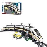 WEERUN Technic City Tren con Pista Set de Construcción, Maqueta de Juguete Tren de Pasajeros de Alta Velocidad Juguete de Tren eléctrico, 641 Piezas Bloques - Compatible con Lego