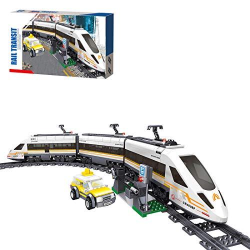 HYZM City Hochgeschwindigkeitszug Baustein, 641 Stücke Wiederbelebung Zug Modell mit Schienen und Motor, Konstruktionsspielzeug Kompatibel mit Lego
