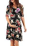 Aibayleef Vestito prémaman Estivo Donna Eleganti Abito Stampa Florale Scollo V Mini Abiti da maternità Sexy Incinte Vestiti Tunica Incrociata Corti Abito Vestitini da Spiaggia