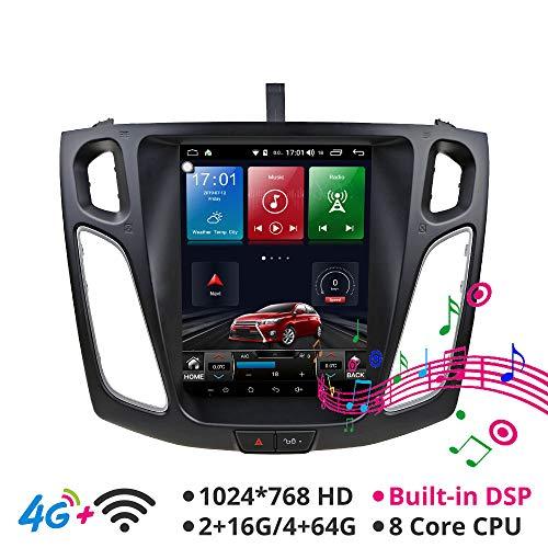 KJHGYU Android 8.1 Tesla Vertikal HD Schirm 9.7 Zoll Auto GPS-Multimedia unterstützt Ford Focus 2012,2013, 2014,2015, 2016-17,4g