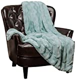 Chanasya Fuzzy Faux Fur Soft Wave Embossed Throw Blanket - Cozy and Warm Lightweight Reversible Sherpa for Couch, Home, Living Room, and Bedroom Décor (50x65 Inches) Turquoise