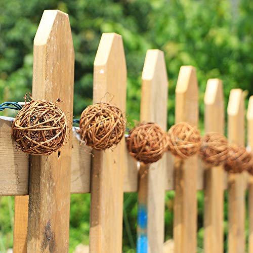 ACRAFT Handmade Dark Brown Rattan Ball String Lights Plug in Fairy Lights for Indoor Outdoor Patio Garden Balcony with End-to-end Connector Decorative Lighting