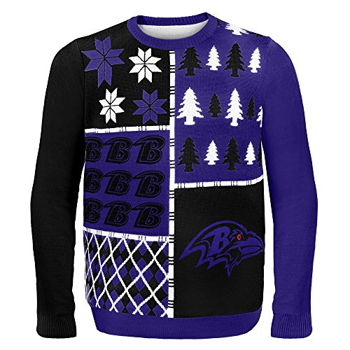 Forever Collectibles NFL Ugly Sweater Pullover Christmas Baltimore Ravens Weihnachtspullover Busy Block (L)