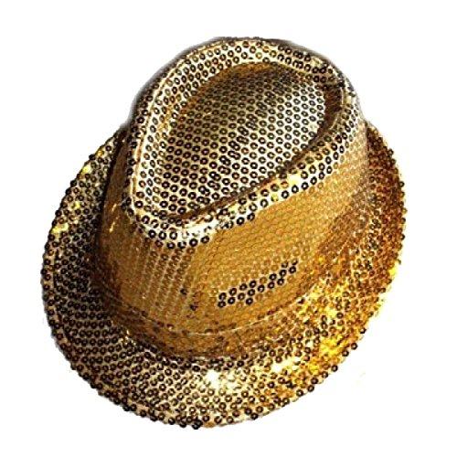 Islander Fashions Unisex Glitter con paillettes Fedora Trilby Hat Cappello Jazz per adulti Gangster Costume per costumi oro Taglia unica