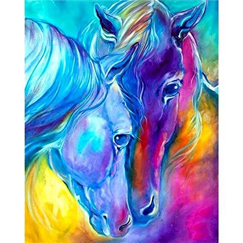 ZXDA Lion Horse Frameless Pintura DIY por números Animales Lienzo Dibujo Kits Pintados a Mano Decoración de Pared Regalo A4 40x50cm