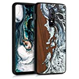 kwmobile Wood Case Compatible with OnePlus 6 - Phone Case with TPU Bumper - Watercolor Waves White/Black/Brown