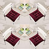 Set of 4 Chair Pads 40 x 40 cm Seat Cushions with Ties