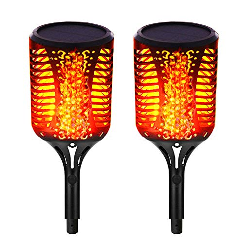 Solar Torch Lights, Outdoor Flickering Flames Lights,Landscape Decoration Lighting.Waterproof Grade IP65. Auto On/Off Security Light Dusk to Dawn for Yard Driveway (2 Pack)