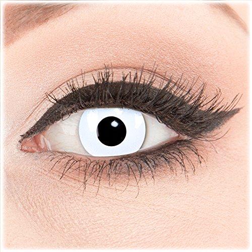 Farbige weiße weisse Crazy Fun Kontaktlinsen crazy contact lenses Whiteout White Out 1 Paar perfekt zu Fasching, Karneval und Halloween. Mit gratis Behälter und 60ml Pflegemittel