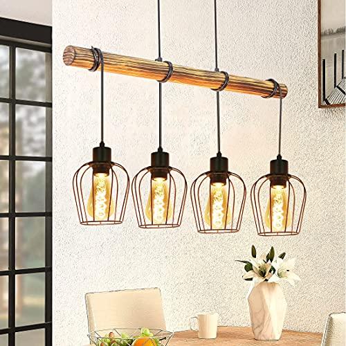 ZMH Lampada a sospensione vintage Lampadario camera da letto - Lampadari industriali in ferro e legno lampada da tavolo da pranzo con 4 lampadina E27 retro illuminazione interni per soggiorno