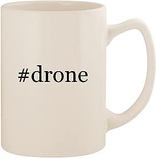 #drone - White Hashtag 14oz Ceramic Statesman Coffee Mug Cup