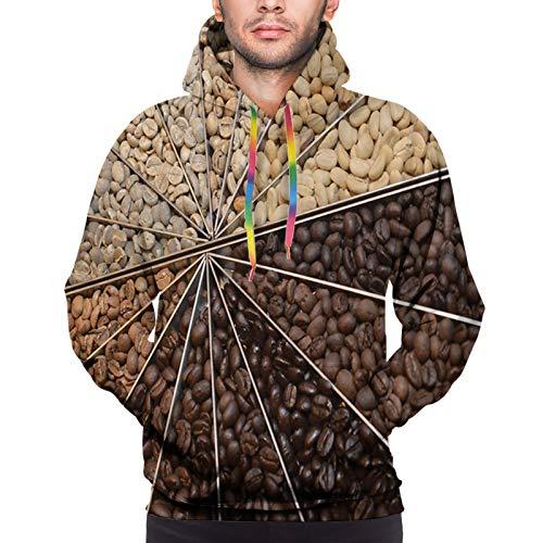 LLiopn Men's 3D Print Hoodies Sweatershirt, Many Varieties of Roasted Beans with Darkening Color Scheme Strong Taste L