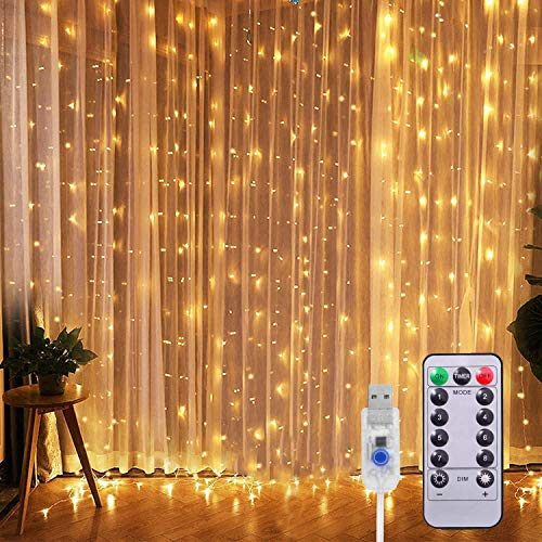 Curtain Lights String Warm White 9.8x9.8Ft 300 LED USB-Powered Hanging Waterproof&8 Modes with Remote Fairy for Bedroom Window Light up Backdrop Twinkle Outdoor Weddings Party Garden Wall decoratio…