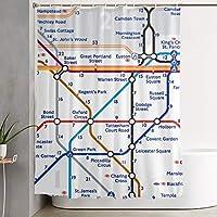 Walking Tube London Map ウォーキングチューブ ロンドン 地図 シャワーカーテン 浴室カーテン おしゃれ 取付簡単 プライバシー保護 間仕切り 目隠し 速乾 保温 耐久 無臭 撥水加工 防カビ お風呂場適用
