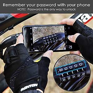 Looxmeer Candado de Bicicleta, Candado de Cable Combinación para Bicicleta con 5 Dígitos, Cadena Antirrobo Flexible, Alta Seguridad para Bicicleta y Moto al Aire Libre, Negro 180cm
