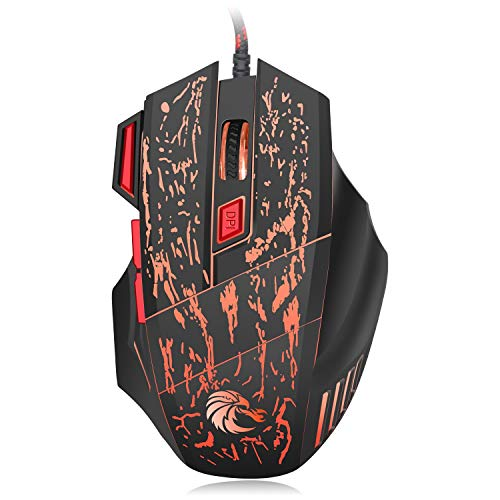 LRHD Wired Mouse, VersionTech Wired Gaming Mice with 5500 DPI, 6 Buttons for Computer PC Laptop, USB Wired Mouse 4 Adjustable DPI Levels with 7 Changing Colours for for Pro Gamer Win 10/8/7/XP