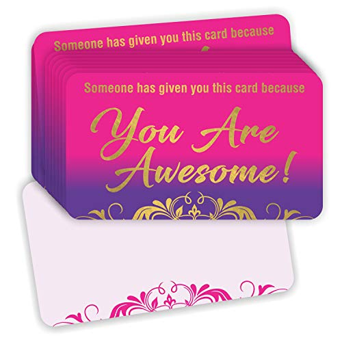 You are Awesome Cards - (Pack of 100) Gold Foil Stamping 3.5' x 2' Appreciation Kindness Matters Card for Teachers Employees Coworker Staff